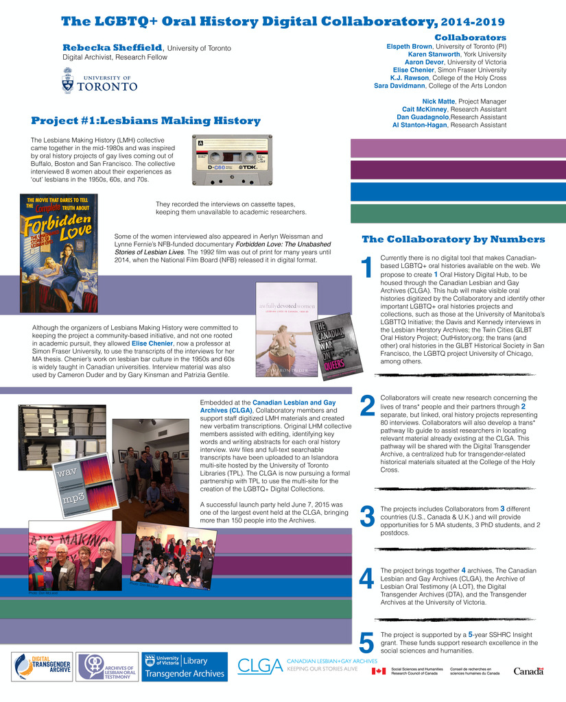 "[Photo fo the AERI 2015 Collaboratory Poster, titled ""LGBTQ+ Oral History Digital Collaboratory"" including information on the collabators, the Lesbians Making History project, and the collaboratory by the numbers]"