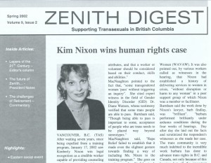 "[newsletter called ""Zenith Digest: Suppourting Transexuals in British Columbia""]"