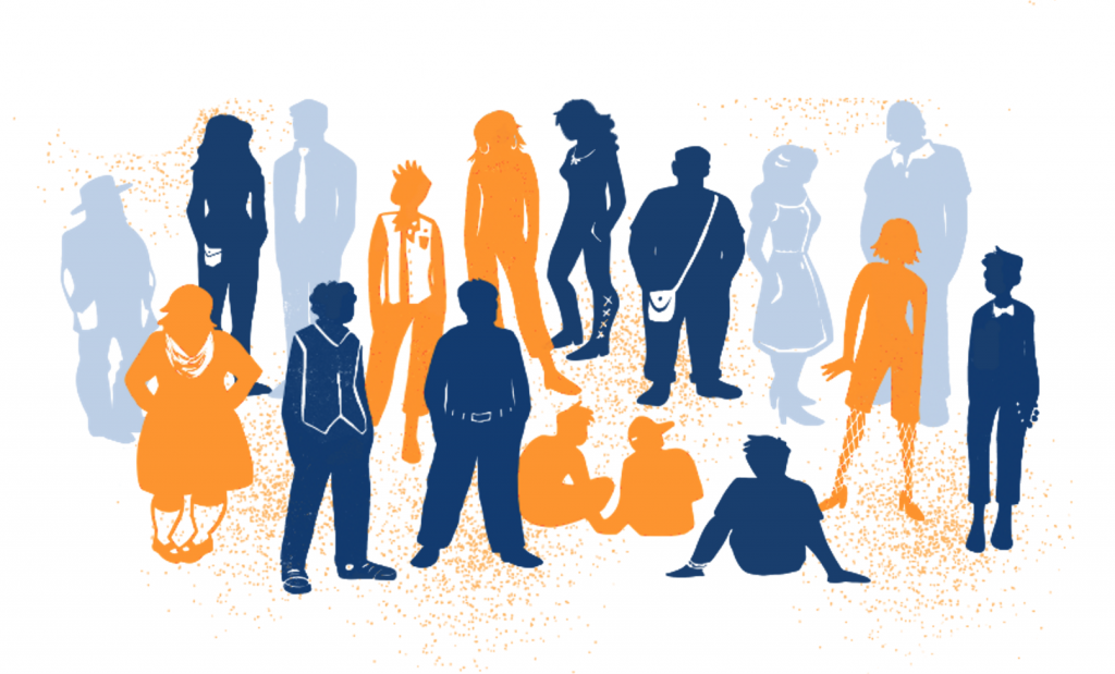graphic from DTA website, depicting diverse sillohuettes of people in orange and blue, the archive's colours