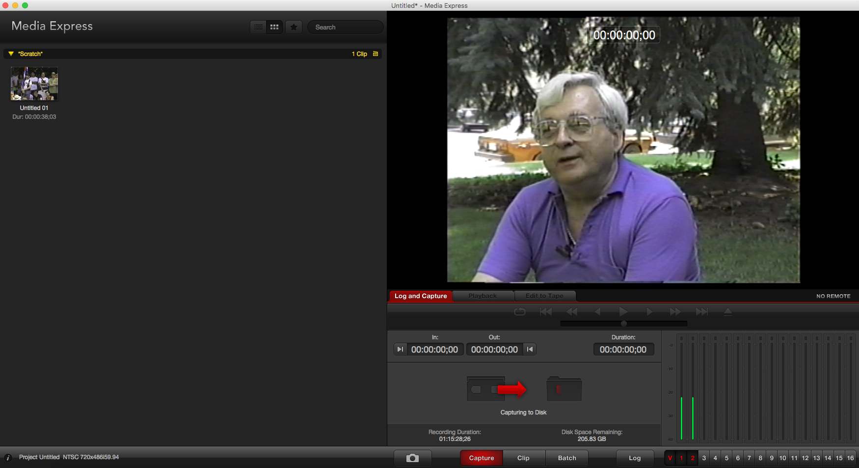Screen capture of VHS digitizing software in use at Canadian Lesbian and Gay Archives