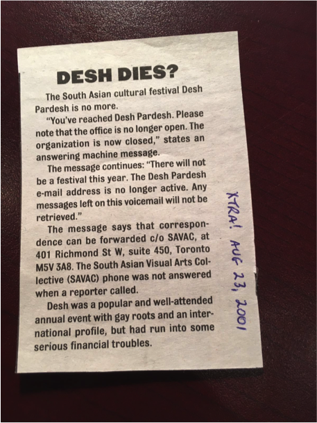 """Desh Dies?"" Clipping for Xtra! magazine, August 23, 2001. Source: Canadian Lesbian and Gay Archives Vertical Files"