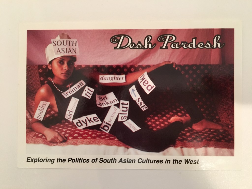 Promotional postcard from 1994 Desh Pardesh Festival. Photo by Rachel Kalpana James. Source: Canadian Lesbian and Gay Archives vertical files.