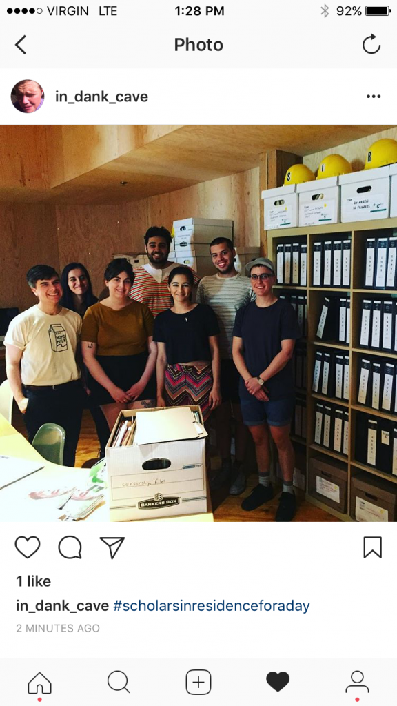 Scholars in Residence group pose in the SAVAC / Vtape archives. (L to R) Mac Stewart, Amal Khurram, Caleigh Inman, Saj Soomal (SAVAC), Alisha Krishna, Zohar Freeman, Cait McKinney.