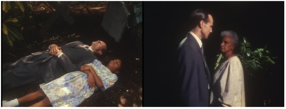 Caption: Stills from Child-Play (1997), dir. Michelle Mohabeer. In the first still, the Dutch man steals the girl's soul. In the second, she confronts him as an old woman, and eventually banishes him from her mind.
